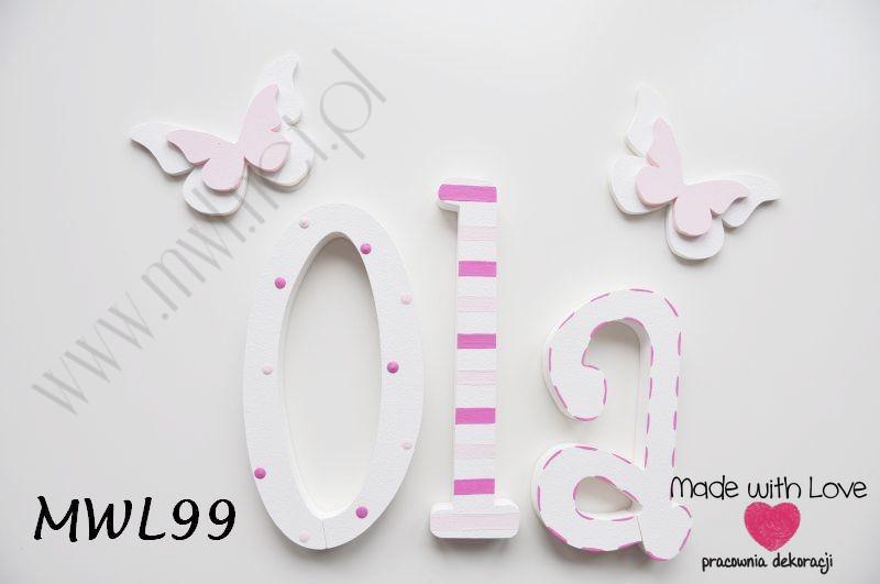 Literki imię dziecka na ścianę do pokoju - 3d - wzór MWL99 ola ola