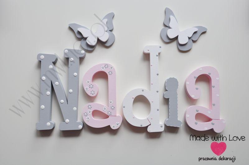 Literki imię dziecka na ścianę do pokoju - 3d - wzór MWL101 nadia nadusia nadia