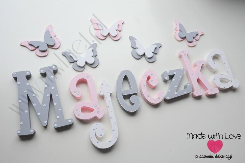 Literki imię dziecka na ścianę do pokoju - 3d - wzór MWL101 maja majka majeczka nadia