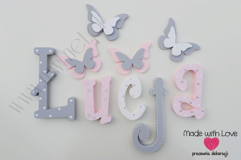 Literki imię dziecka na ścianę do pokoju - 3d - wzór MWL101 łucja nadia