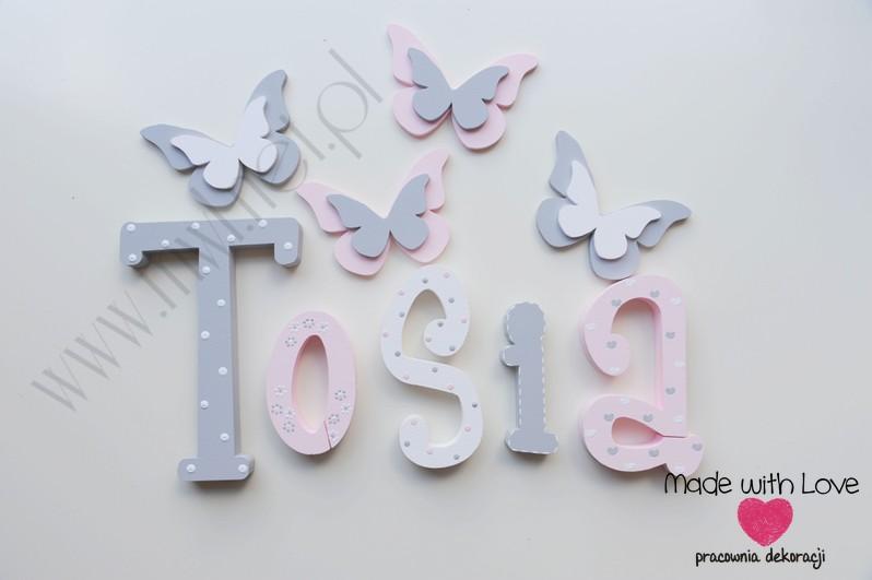 Literki imię dziecka na ścianę do pokoju - 3d - wzór MWL101 tosia antosia antonina nadia