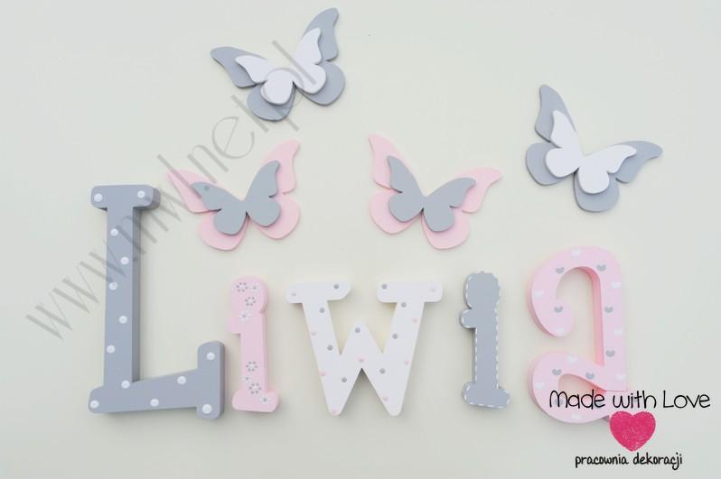 Literki imię dziecka na ścianę do pokoju - 3d - wzór MWL101 liwia liwka nadia