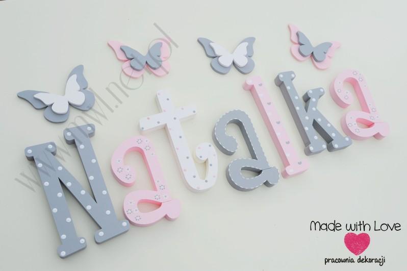Literki imię dziecka na ścianę do pokoju - 3d - wzór MWL101 natalia natalka  nadia