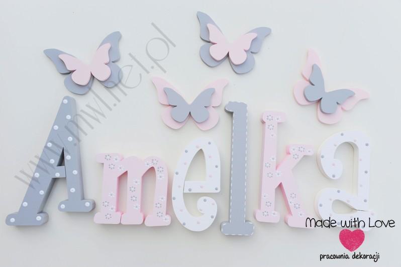 Literki imię dziecka na ścianę do pokoju - 3d - wzór MWL101 amelia amelka nadia