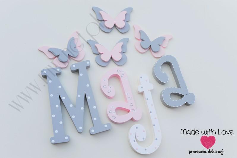 Literki imię dziecka na ścianę do pokoju - 3d - wzór MWL101 maja majka nadia
