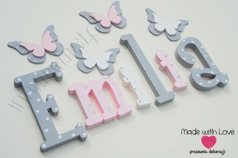 Literki imię dziecka na ścianę do pokoju - 3d - wzór MWL101 emilia emilka emi nadia
