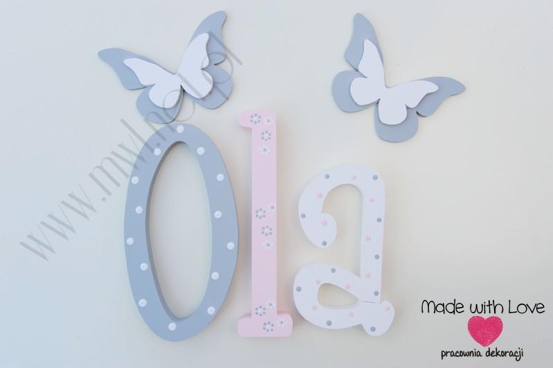 Literki imię dziecka na ścianę do pokoju - 3d - wzór MWL101 ola olcia aleksandra nadia