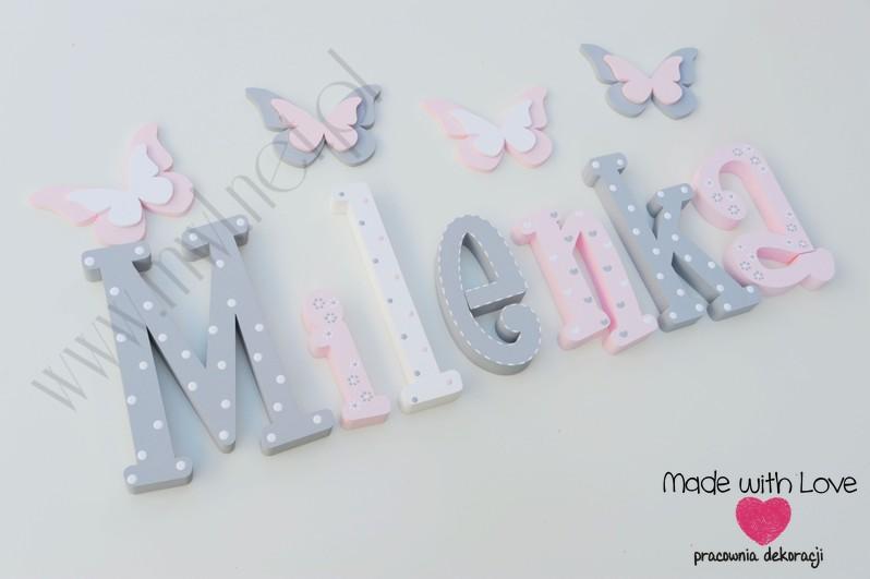 Literki imię dziecka na ścianę do pokoju - 3d - wzór MWL101 milena milenka mila nadia