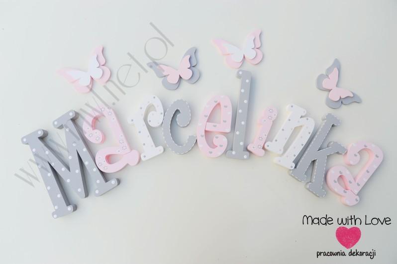 Literki imię dziecka na ścianę do pokoju - 3d - wzór MWL101 marcelina marcelka marcelinka nadia