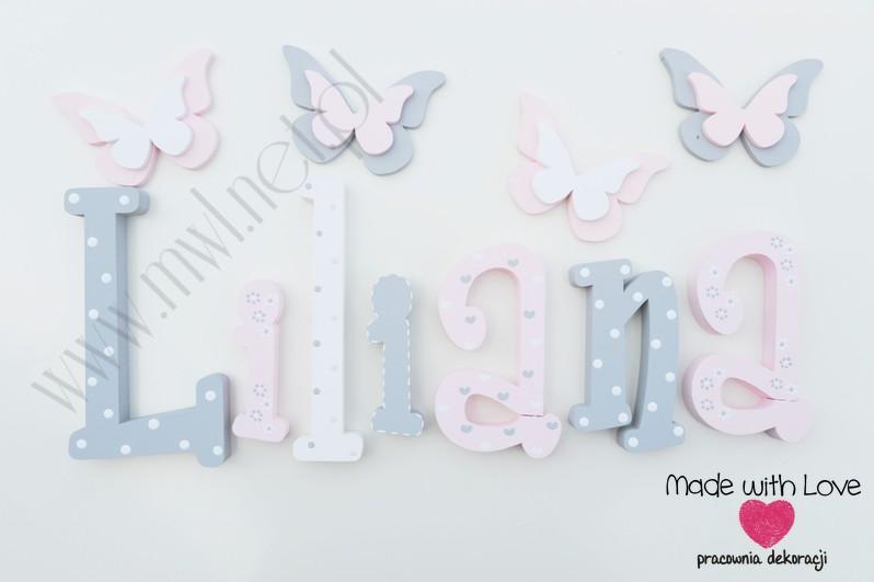 Literki imię dziecka na ścianę do pokoju - 3d - wzór MWL101 lila liliana lilka lilianna nadia