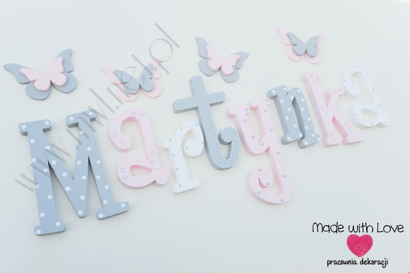 Literki imię dziecka na ścianę do pokoju - 3d - wzór MWL101 martyna martynka nadia