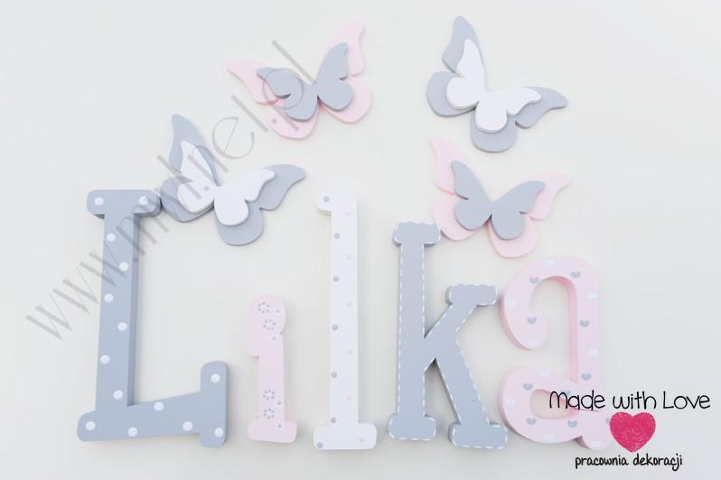 Literki imię dziecka na ścianę do pokoju - 3d - wzór MWL101 lilka lila liliana lilianna lilcia lila nadia
