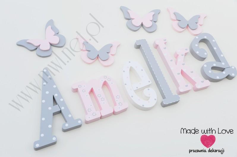 Literki imię dziecka na ścianę do pokoju - 3d - wzór MWL101 amelka amelia amelcia nadia
