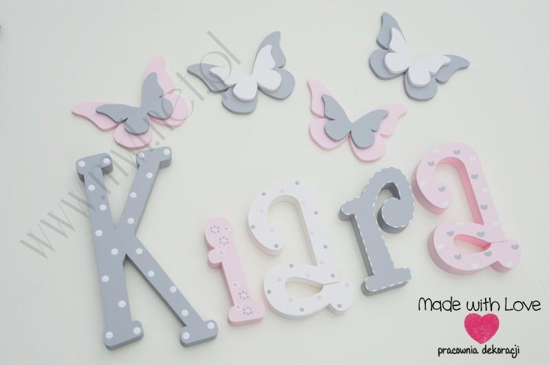 Literki imię dziecka na ścianę do pokoju - 3d - wzór MWL101 kiara nadia