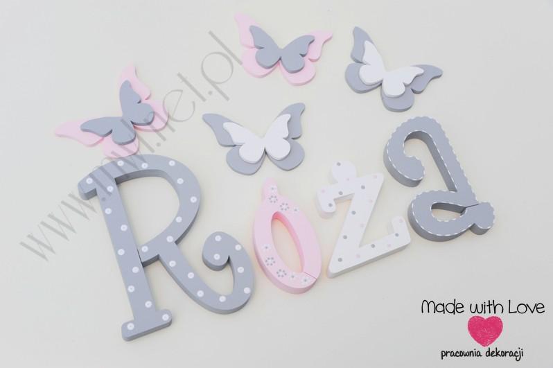 Literki imię dziecka na ścianę do pokoju - 3d - wzór MWL101 róża różyczka nadia