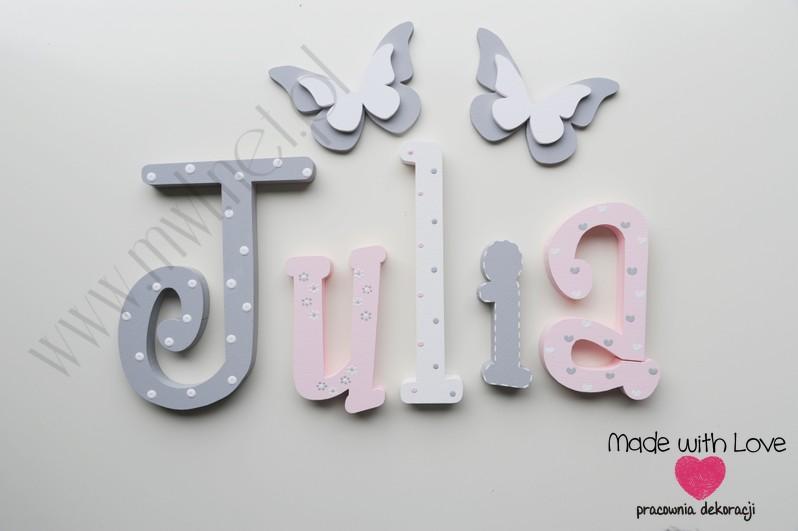 Literki imię dziecka na ścianę do pokoju - 3d - wzór MWL101 julia julka nadia