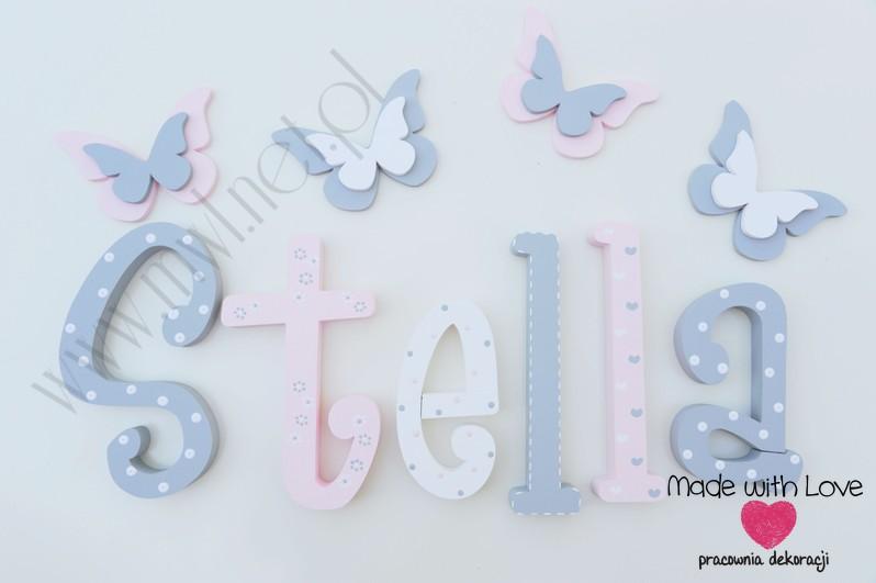 Literki imię dziecka na ścianę do pokoju - 3d - wzór MWL101 stella nadia