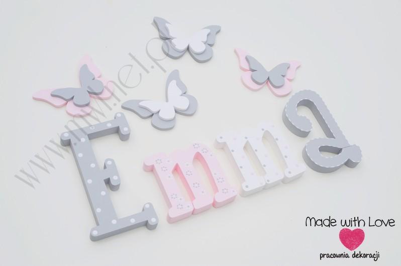 Literki imię dziecka na ścianę do pokoju - 3d - wzór MWL101 emma nadia