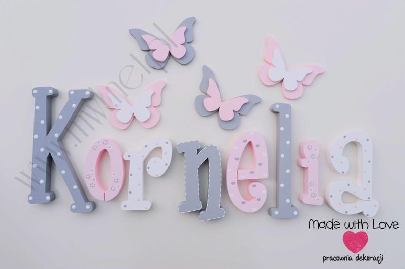 Literki imię dziecka na ścianę do pokoju - 3d - wzór MWL101 kornelia kornelka nadia
