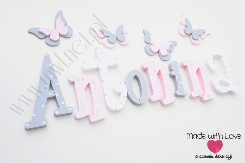 Literki imię dziecka na ścianę do pokoju - 3d - wzór MWL101 antonina antosia tosia nadia