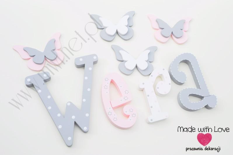 Literki imię dziecka na ścianę do pokoju - 3d - wzór MWL101 weronika wera nadia
