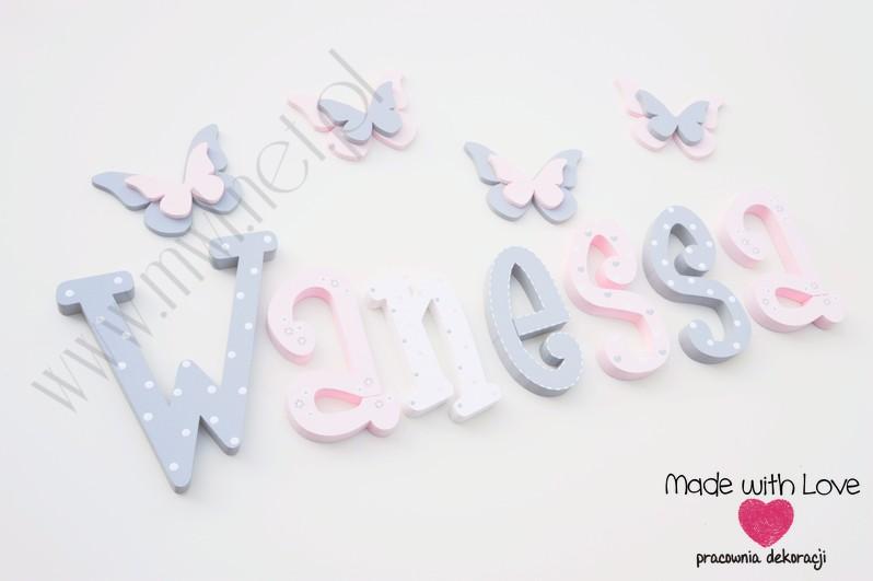 Literki imię dziecka na ścianę do pokoju - 3d - wzór MWL101 wanessa nadia