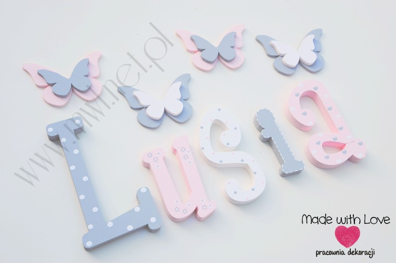 Literki imię dziecka na ścianę do pokoju - 3d - wzór MWL101 łucja lusia lucyna lucynka nadia
