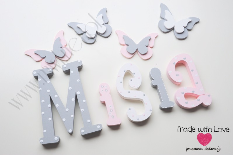 Literki imię dziecka na ścianę do pokoju - 3d - wzór MWL101 misia michasia michalina nadia