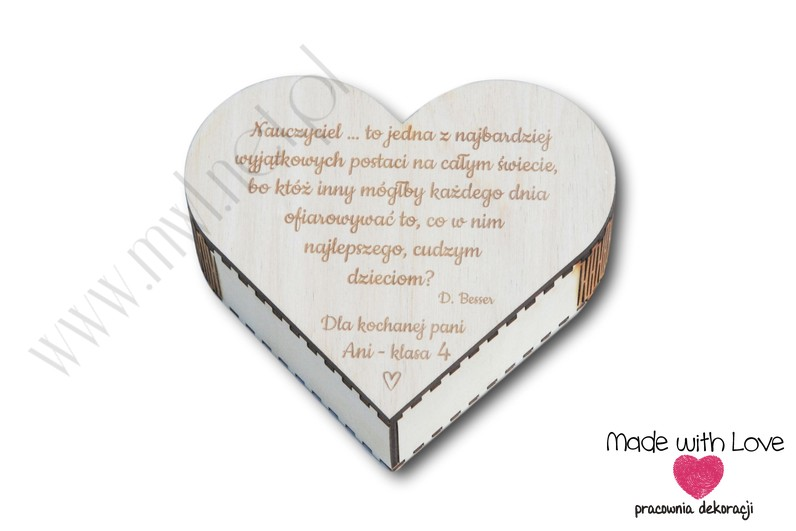 Pudełko serduszko z życzeniami dla nauczyciela