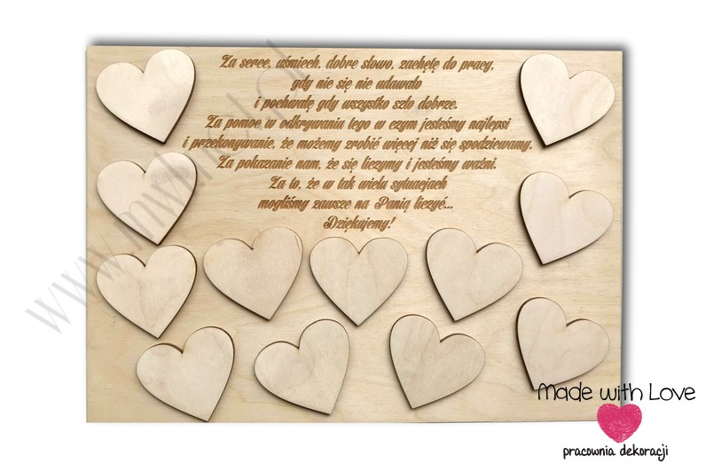 Tablica z życzeniami i serduszkami imiennymi wer.2