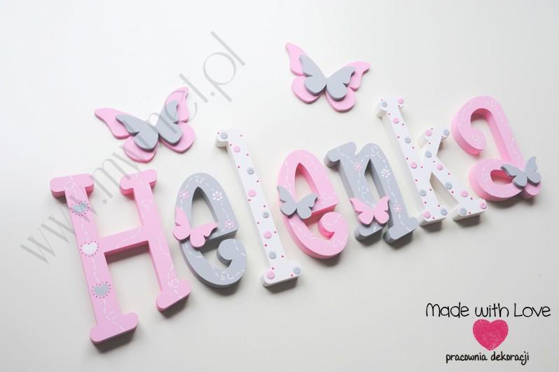 Literki imię dziecka na ścianę do pokoju - 3d - wzór MWL175 helena helenka hela