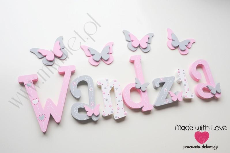 Literki imię dziecka na ścianę do pokoju - 3d - wzór MWL175 wandzia wanda