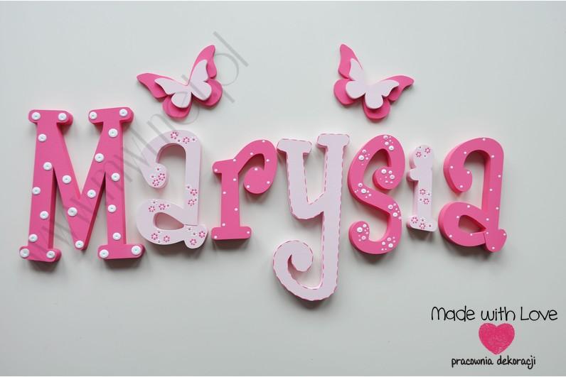 Literki imię dziecka na ścianę do pokoju - 3d - wzór MWL10 marysia maria lenka