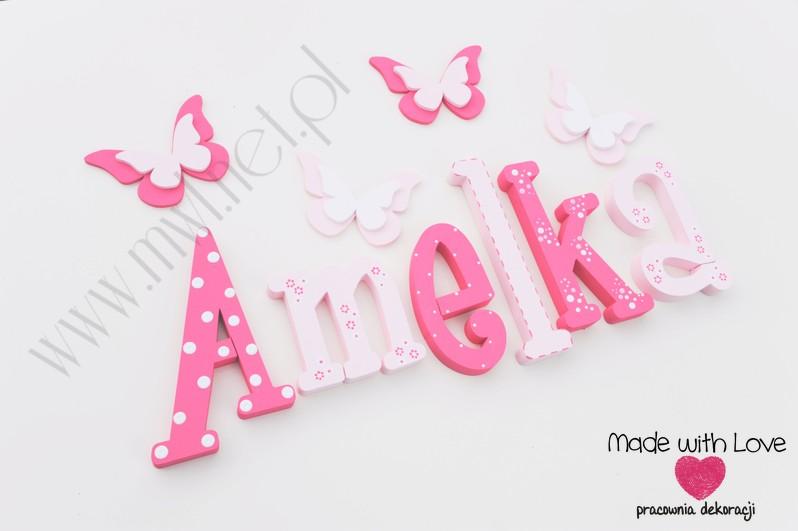 Literki imię dziecka na ścianę do pokoju - 3d - wzór MWL10 amelia amelka mela lenka