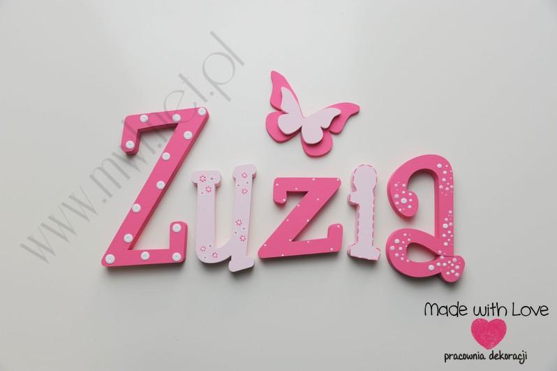 Literki imię dziecka na ścianę do pokoju - 3d - wzór MWL10 zuzia zuza zuzka lenka