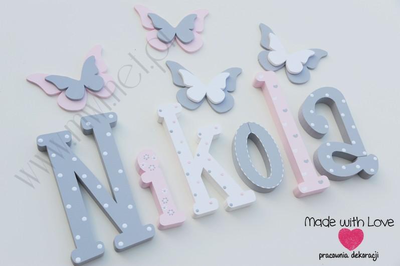 Literki imię dziecka na ścianę do pokoju - 3d 30cm - wzór MWL101 niki nikola nikosia