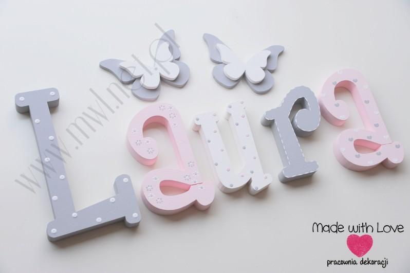 Literki imię dziecka na ścianę do pokoju - 3d 30cm - wzór MWL101 laura laurka