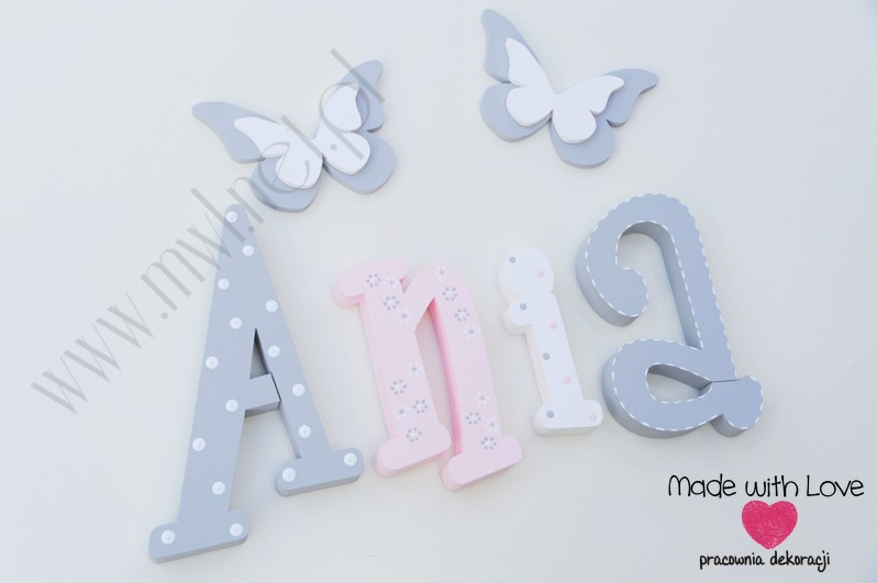 Literki imię dziecka na ścianę do pokoju - 3d 30cm - wzór MWL101 ania anna