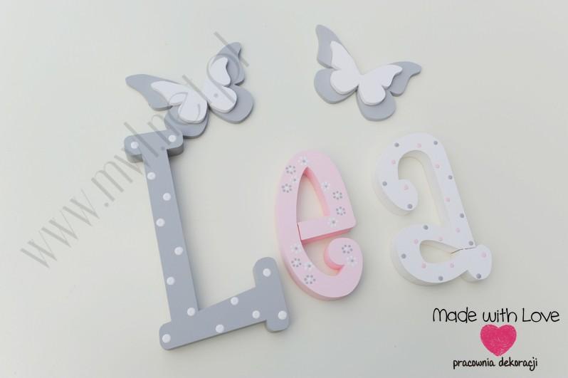 Literki imię dziecka na ścianę do pokoju - 3d 30cm - wzór MWL101 lea