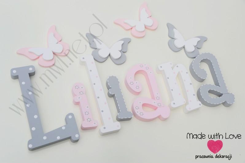 Literki imię dziecka na ścianę do pokoju - 3d 30cm - wzór MWL101 liliana lilianka lilka lili lilianna lilcia