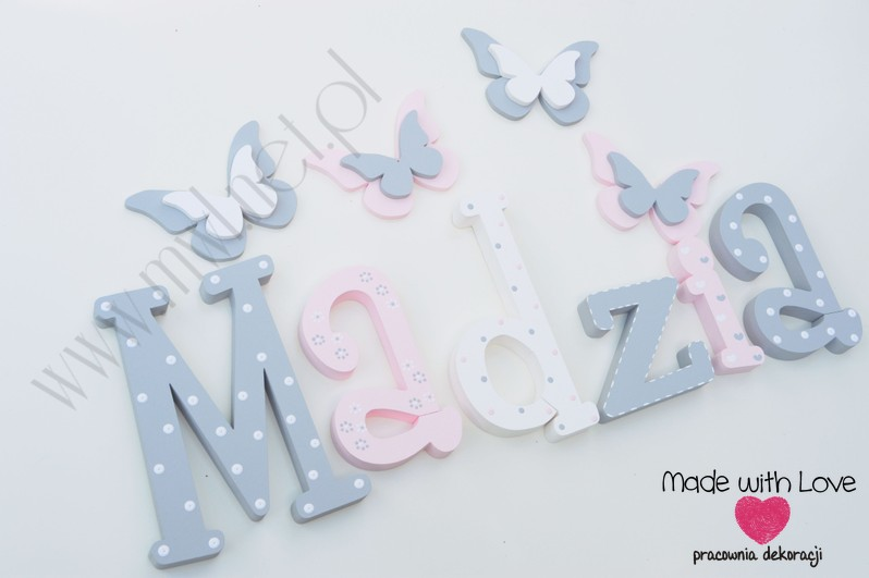 Literki imię dziecka na ścianę do pokoju - 3d 30cm - wzór MWL101 madzia magda magdalena