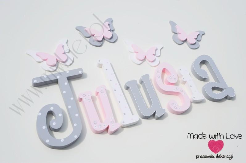 Literki imię dziecka na ścianę do pokoju - 3d 30cm - wzór MWL101 julia julka julcia julusia