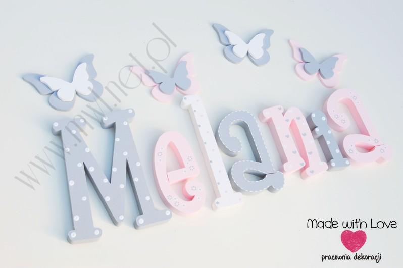 Literki imię dziecka na ścianę do pokoju - 3d 30cm - wzór MWL101 melania mela melka