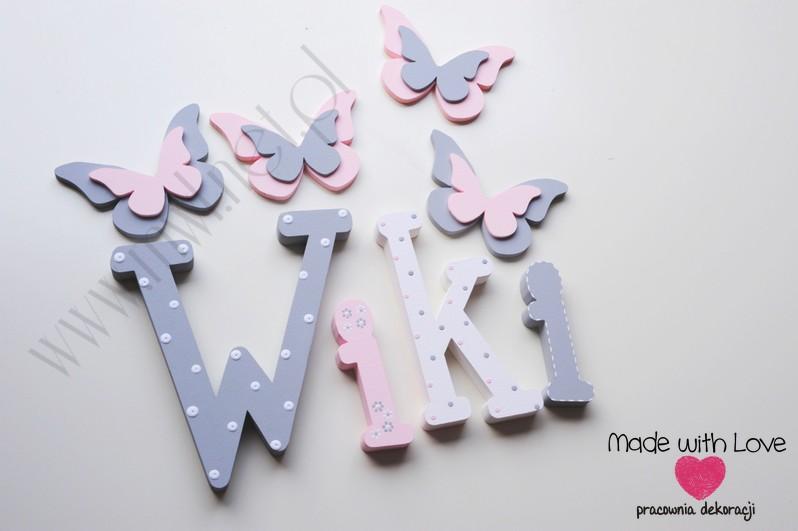 Literki imię dziecka na ścianę do pokoju - 3d 30cm - wzór MWL101 wiki wiktoria