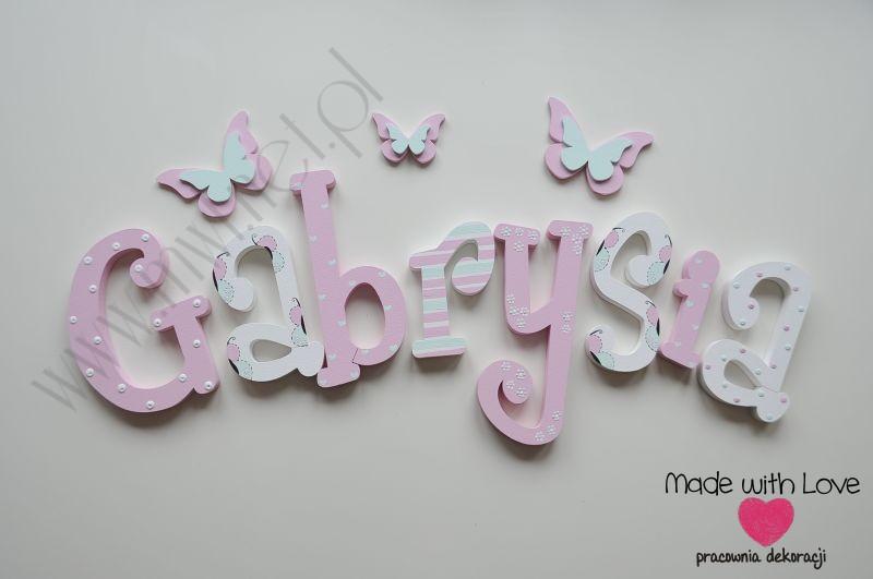 Literki imię dziecka na ścianę do pokoju - 3d - wzór MWL105 gabrysia gabi gabrysia