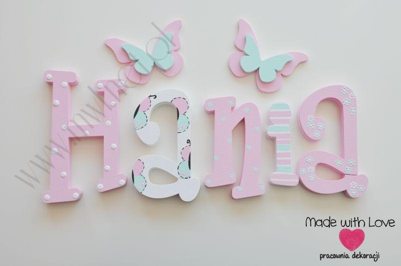Literki imię dziecka na ścianę do pokoju - 3d - wzór MWL105 hania hanka haneczka hanna hanusia gabrysia