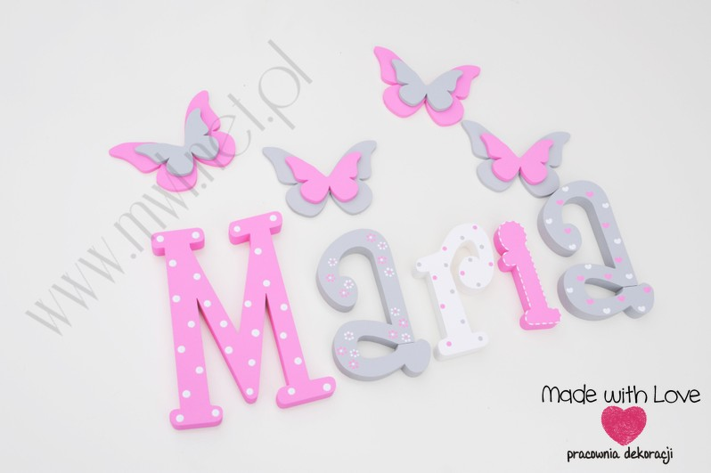 Literki imię dziecka na ścianę do pokoju - 3d - wzór MWL106 maria marysia