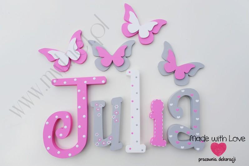 Literki imię dziecka na ścianę do pokoju - 3d - wzór MWL106 julia julka julcia