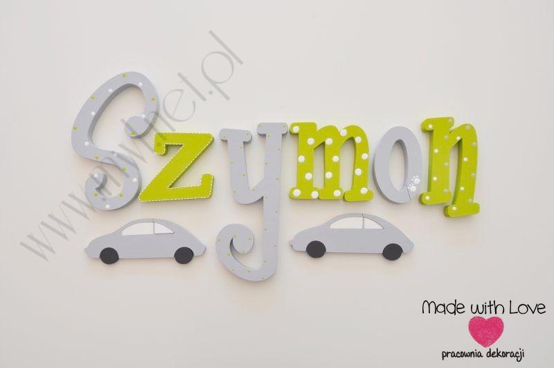 Literki imię dziecka na ścianę do pokoju - 3d - wzór MWL107 szymon szymon