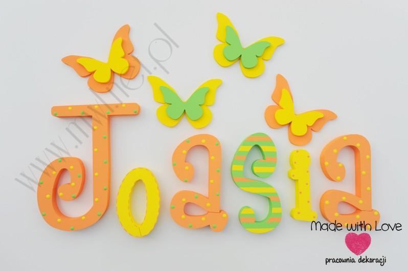 Literki imię dziecka na ścianę do pokoju - 3d - wzór MWL11 asia joasia joanna marta